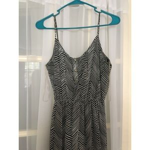 Black and white zig zag boho maxi dress
